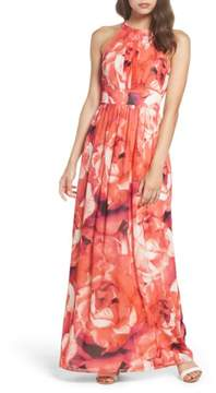 Eliza J Women's Print Chiffon Fit & Flare Maxi Dress