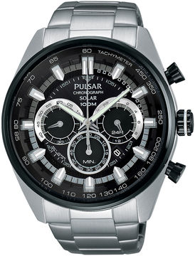 Pulsar Mens Stainless Steel Solar Chronograph Sport Watch PX5033