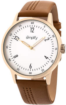Simplify Rose Gold & Brown The 5700 Leather-Strap Watch
