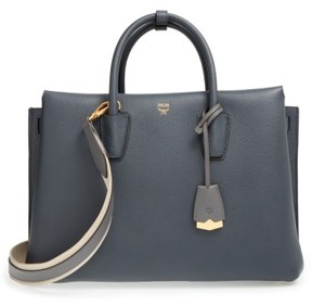 MCM 'Large Milla' Leather Tote - Grey