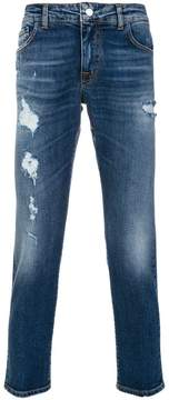 Entre Amis distressed cropped jeans