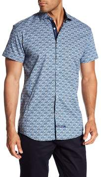 English Laundry Oval Print Classic Fit Short Sleeve Shirt