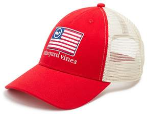 Vineyard Vines American Flag Whale Trucker Hat