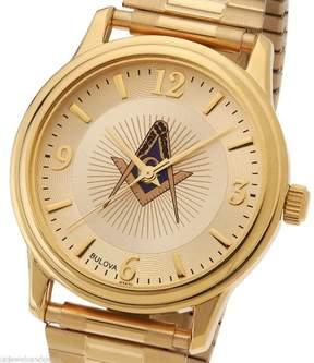 Bulova New Men's Gold Finished Masonic Blue Lodge Watch with Expansion Bracelet