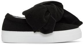 Joshua Sanders Black Felt Bow Platform Slip-On Sneakers