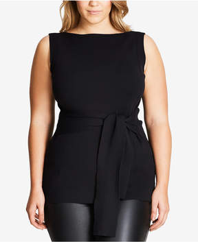 City Chic Trendy Plus Size Belted Top
