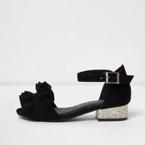 River Island Girls black ruffle glitter block heel sandals