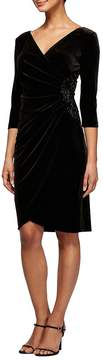 Alex Evenings Stretch Velvet Ruched Sheath Dress