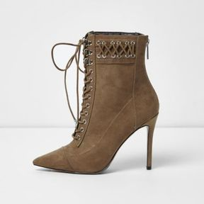 River Island Womens Beige pointed lace-up heeled boots