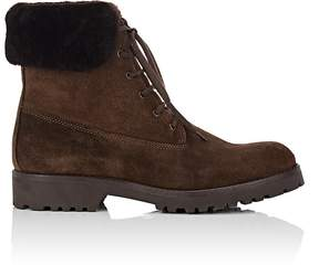 Barneys New York WOMEN'S SHEARLING-TRIMMED SUEDE ANKLE BOOTS