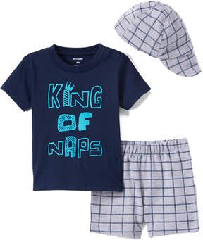 Petit Lem Blue 'King of Naps' Tee Set - Newborn & Infant