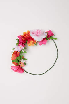 H&M Rigid Hairband with Flowers - Red