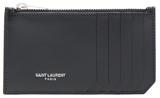 Saint Laurent Zipped Fragments Credit Card Case in Black. - BLACK & BLACK - STYLE