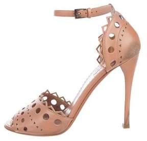 Alaia Laser Cut Ankle Strap Sandals
