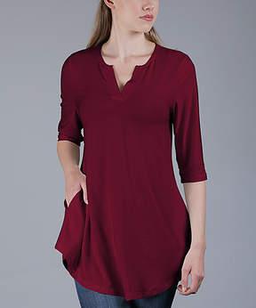 Azalea Burgundy Side-Pocket Notch Neck Tunic - Women