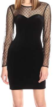 GUESS Women's Velvet Illusion Bodycon Dress