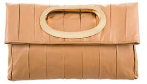 Elie Tahari Box Pleated Leather Clutch