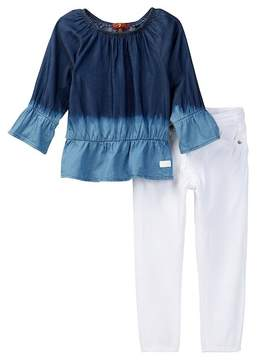 7 For All Mankind Blouse & Skinny Jean Set (Toddler Girls)