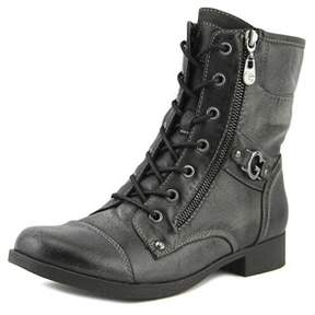 G by Guess Bates Women Round Toe Synthetic Black Combat Boot.