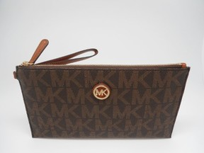 Michael Kors Fulton Large Zip Clutch/Wristlet/ Wallet Brown - BROWN - STYLE