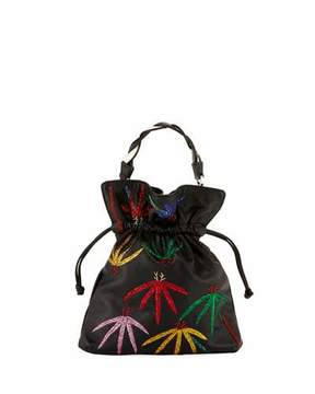 Les Petits Joueurs Trilly Palms Braid Embroidered Pouch Bag