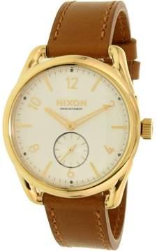 Nixon Men's A4592227 Gold Leather Swiss Quartz Dress Watch