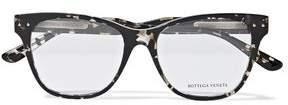 Bottega Veneta D-Frame Quilted Leather-Trimmed Tortoiseshell Acetate Optical Glasses