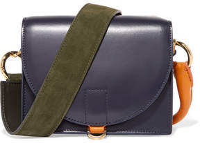 Sacai Satchel Suede And Leather Shoulder Bag - Navy