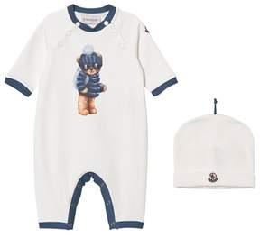 Moncler Bear Print Babygrow and Hat Set