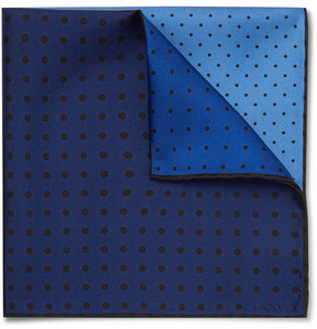 Lanvin Polka-Dot Colour-Block Silk-Twill Pocket Square