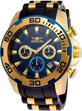 Invicta Men's Pro Diver Chrono Gold Plated S. Steel Black Silicone Watch 22341