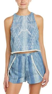Flying Tomato Embroidered Chambray Crop Top.