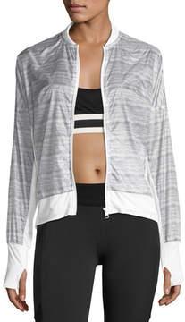 Blanc Noir Feather Weight Stripe-Print Jacket, Gray