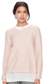 Elle Women's ElleTM Dot Mock-Layer Sweater