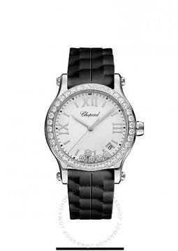 Chopard Happy Sport White Matte Dial Ladies Rubber Watch