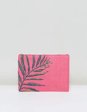 South Beach Hot Pink Straw Clutch Bag With Palm Embroidery