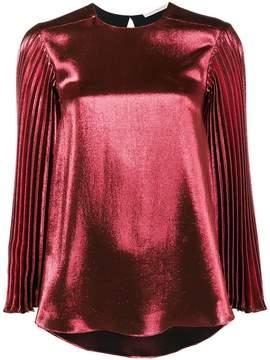 Christopher Kane pleated long sleeve metallic top