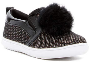 Rachel Faux Fur Pompom Slip-On Sneaker (Toddler & Little Kid)