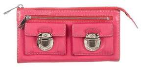 Marc Jacobs Leather Zip Wallet - PINK - STYLE