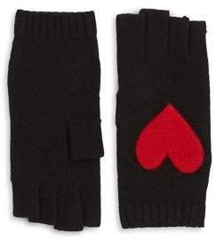 Portolano Heart Rabbit Fur Fingerless Gloves