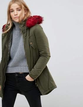 Brave Soul Parka Coat with Faux Fur Trim