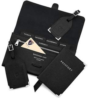 Aspinal of London Classic Travel Collection In Black Saffiano Black Suede