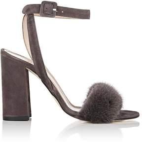 Barneys New York Women's Fur-Trimmed Suede Sandals