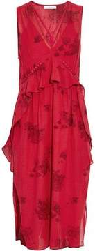 IRO Ruffled Printed Voile Midi Dress