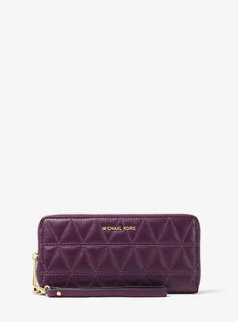Michael Kors Jet Set Travel Quilted-Leather Continental Wristlet - PURPLE - STYLE