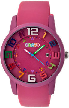 Crayo Women's Festival Fuchsia Silicone-Band Watch with Date Cracr2005