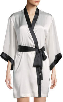 Josie Natori Sleek Contrast Trim Silk-Blend Short Robe