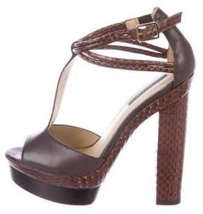 Rachel Zoe Leather Snakeskin-Accented Sandals