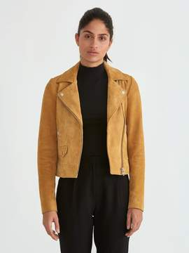 Frank and Oak Suede Biker Jacket in Tan