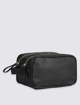 Marks and Spencer Textured Saffiano Double Zip Washbag